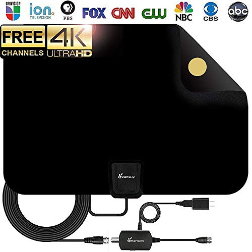HDTV Antenna - Vansky Digital Amplified HD TV Antenna 60-90 Mile Range 4K HD VHF UHF Freeview Television Local Channels Detachable Signal Amplifier and 16.5ft Longer Coax Cable