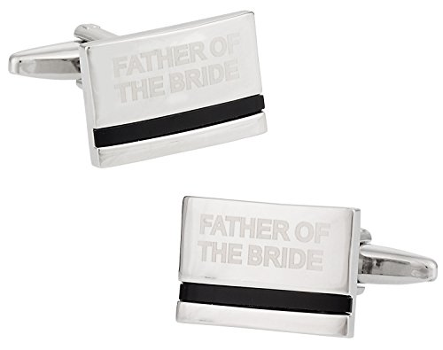 (Cuff-Daddy Father of the Bride Cufflinks with Onyx Cuff Links with Presentation Box)