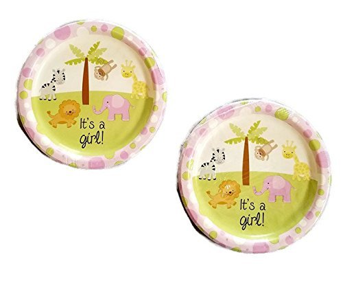 Girl's Pink Baby Shower With Animal Theme Design Paper Party 9'' Plates (36)