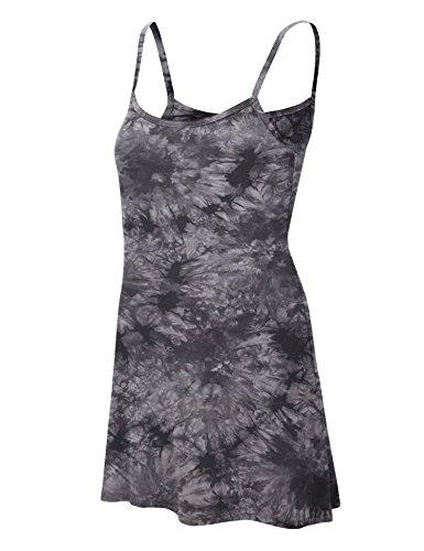 Tie Dye Camisole Dress (MBJ WDR1061 Womens Tie Dye Spaghetti Strap Tunic Mini Dress L BLACK)