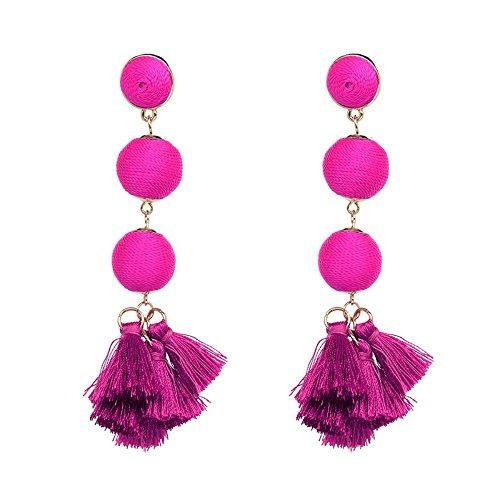 ''Paris Nights'' Threaded Ball Earrings - Fuchsia by Atelier Sona (Image #1)