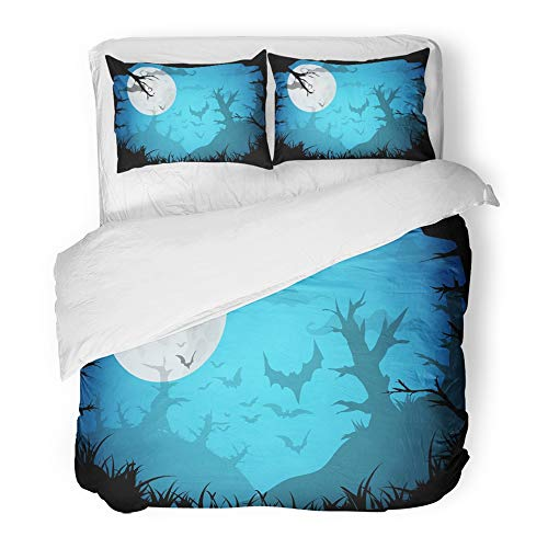 Emvency Bedding Duvet Cover Set Twin (1 Duvet Cover + 1 Pillowcase) Cartoon Halloween Blue Spooky A4 Border with Moon Death Trees and Bats with Place Hotel Quality Wrinkle and Stain Resistant by Emvency