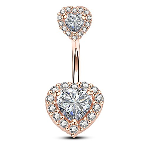 rt Cubic Zirconia Navel Belly Button Ring Surgical Steel Piercing Jewelry ()