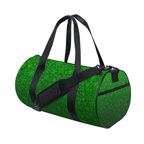OuLian Duffel Bag Green Snowflake Pattern Women Garment Gym Tote Bag Best Sports Bag for Boys