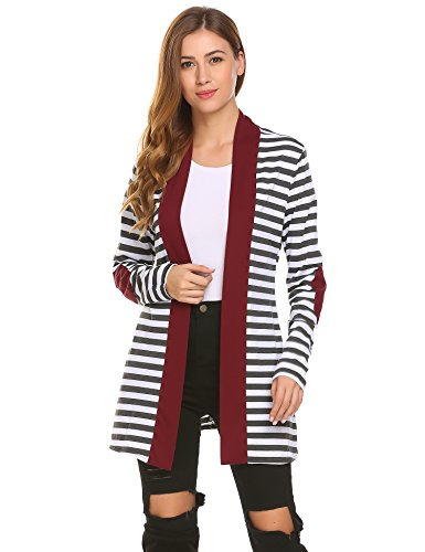 Zeagoo Women's Striped Shawl Collar Elbow Patch Sweater Open Front Cardigan PAT1 L - Spandex Striped Sweater