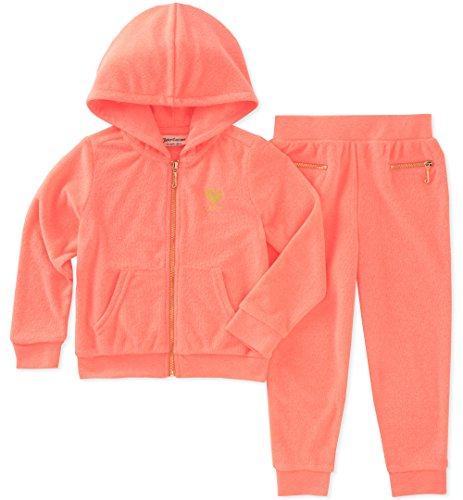 Juicy Couture Little Girls' 2 Pieces Jog Set, Orange, 5