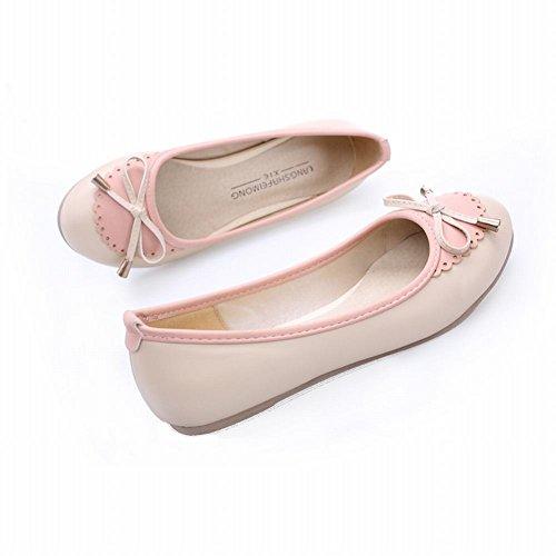 Carolbar Womens Fashion Assorted Colors Cute Adorable Sweet Bows Elegance Loafer Flats Beige wqJ7w94D