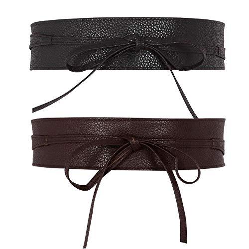 CHIC DIARY Fashion Women Faux Leather Bow Tie Waistband Elastic Stretch Waist Strap Cummerbund for Dress (#b-2pcs(black+coffee))