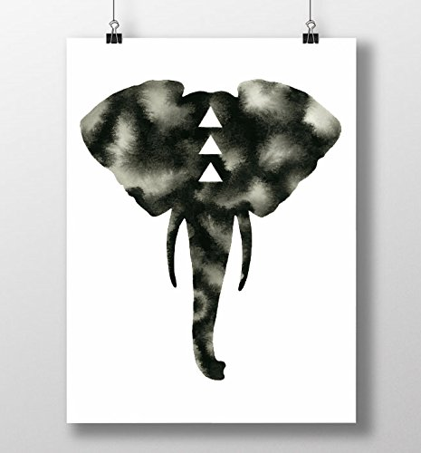Black white elephant print bull elephant watercolor art minimal safari artwork