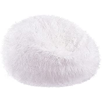 Acanva Large Plush Faux Fur Teardrop Slacker Bean Bag Chair for Adult and kid, White