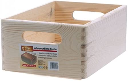 KYNAST multiusos caja/caja de madera, 40 x 30 x 19 cm, pino ...