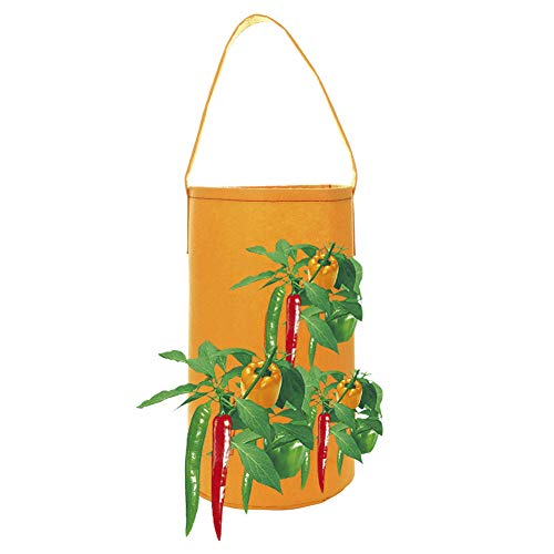 (Firlar Hanging Hot Peppers Aeration Planter, 2pcs Felt Garden Grow Bag Planting Bag Plant Pouch with Carry Handle for Planting Chili Strawberry Herb etc)
