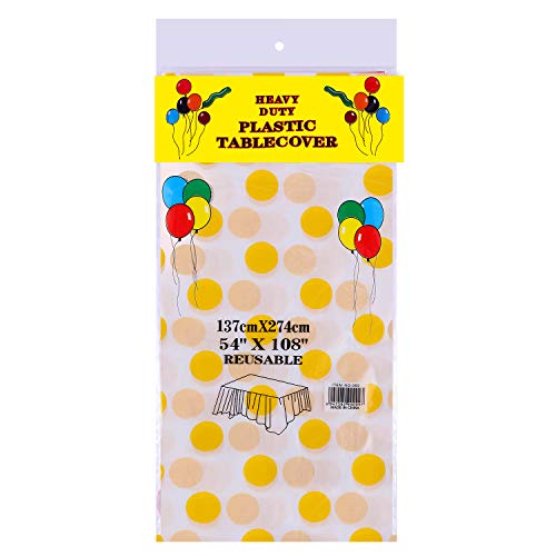 3 Pack Premium Disposable Plastic Tablecloth 54 Inch. x 108 Inch. Rectangle Table Cover By Grandipity - White Big Yellow Dot