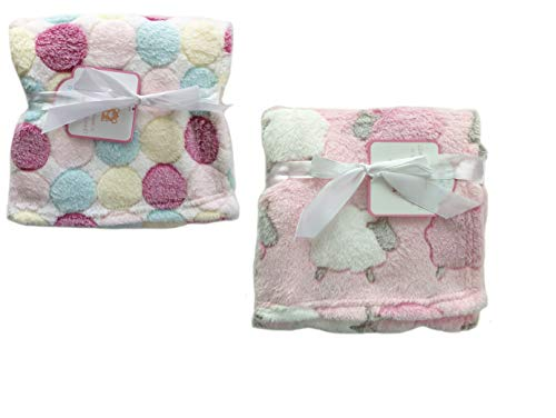 (2-Pack Super Soft Plush Lightweight Furry Fleece Sherpa Quilt Pastel Pink White Yellow Dots Sheep Girl Baby Blanket Twins Gift Set)