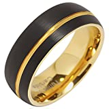 100S JEWELRY Tungsten Rings For Men Wedding Bands 14K Gold Plated Jewelry Brushed Black Size 8-16 (16)