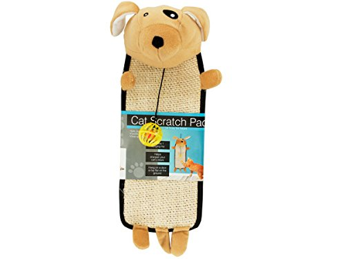 Plush Dog Shaped Cat Scratch Pad With Dangle Toy