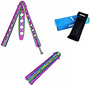 Unho® Navaja Mariposa Multicolores, Cuchillo Balisong Mariposa para Entrenamiento Practicar los Trucos, Hoja Desafilada Metal Antioxidante, training knife
