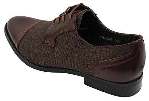 Mens Casual chic atado tweed y piel con cordones Zapatos Vintage Retro marrón