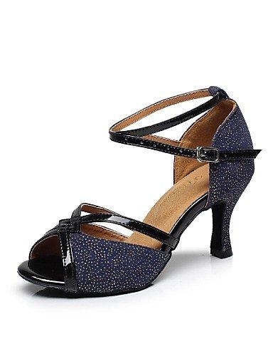 La mode moderne Non Sandales Chaussures de danse pour femmes personnalisable en cuir de l'Amérique Latine/Paillette Talon évasé bleu/vert,bleu,US5.5/UE36/UK3.5/CN35