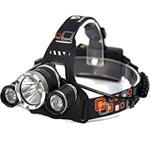 Irontria LED Headlamp High Power Bright Headlight 3 XML T6 with Rechargeable Batteries Wall Charger for Hiking Camping Riding Fishing Hunting
