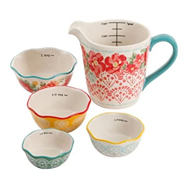 The Pioneer Woman Vintage Floral 4-Piece Measuring Bowl with 4-Cup Measuring Cup, 5-Piece Set