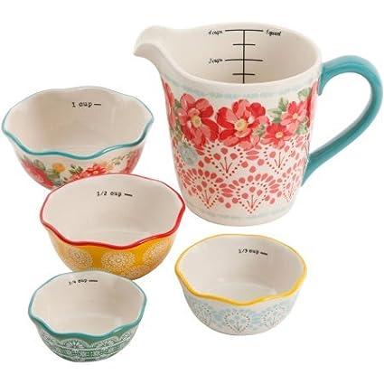El Pioneer Mujer Vintage Floral 4 piezas medición cuenco con ml taza de medir, 5