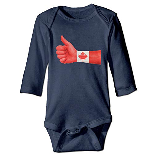 VEGAS Canada Unisex Long Sleeve Cotton Baby Onesies Bodysuits Navy -
