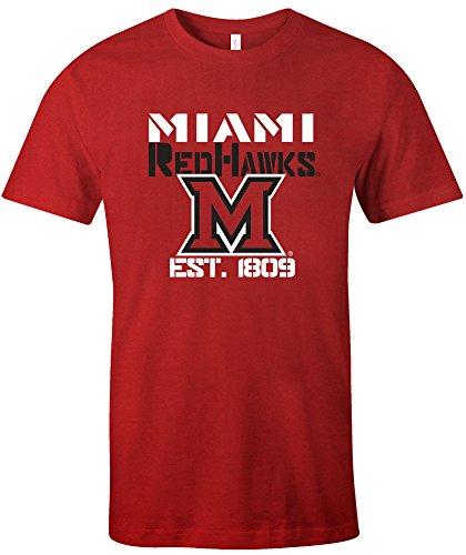 Miami Ohio Redhawks Baseball (NCAA Miami (Ohio) Red hawks Est Stack Jersey Short Sleeve T-Shirt, Red,Medium)