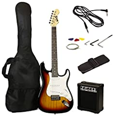 The RockJam RJEG02 has been designed and perfected by guitar experts for the guitar novice to provide you with the best value style and substance plug and play package.The pack itself comprises of a high gloss finished Full-Size electric guit...