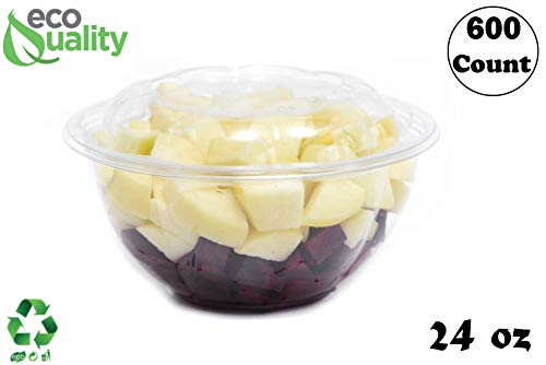 - 24oz Clear Disposable Salad Bowls with Lids (600 Pack) - Clear Plastic Disposable Salad Containers for Lunch To-Go, Salads, Fruits, Airtight, Leak Proof, Fresh, Meal Prep | Rose Bowl Container (24oz)