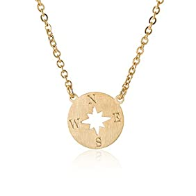 HUAN XUN Compass Necklace Cut Out Disc Charm Necklaces Stainless Steel Jewelry 16