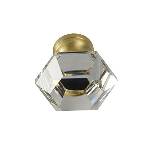 #G-75 CKP Brand Elegance Glass Collection 1-1/4 in. (32mm) Clear Glass Knob with Satin Brass Base - 10 Pack by CKP (Image #2)
