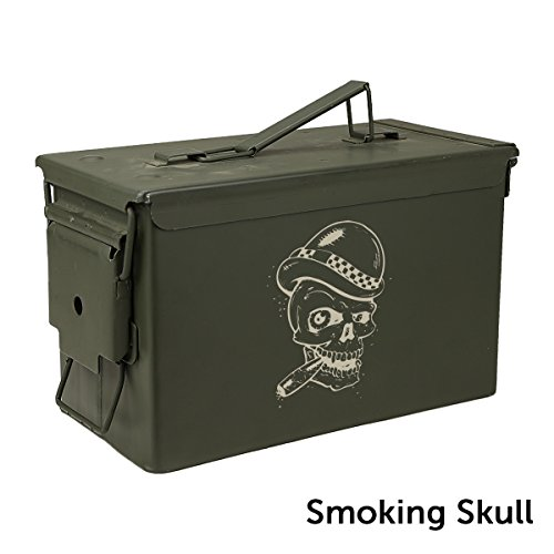 The Engraved Ammo Can Cigar Humidor- Smoking Skull - Engraved Cigar Humidor
