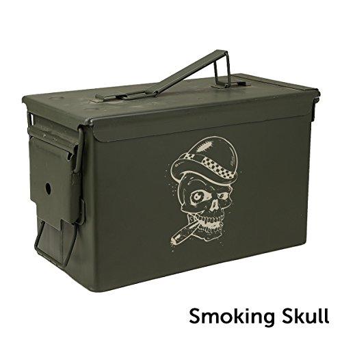 Engraved Cigar Humidor - The Engraved Ammo Can Cigar Humidor- Smoking Skull