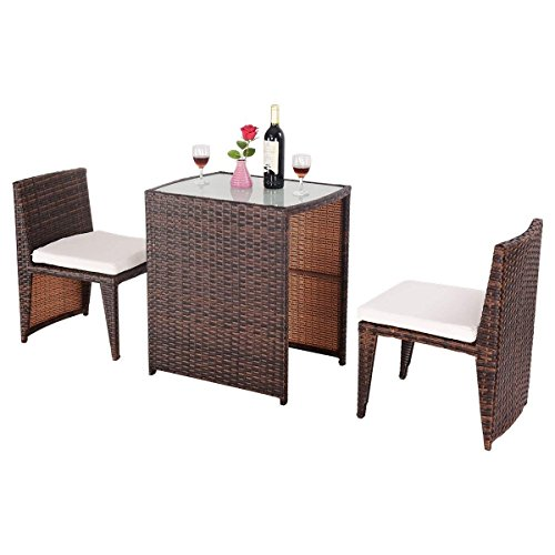 TANGKULA 3PCS Patio Conversation Set with Glass Coffee Table & Cushioned Chairs Durable Rattan Wicker Patio Chat Set for Garden Backyard Lawn Pool Outdoor Patio Furniture Set(Mix Brown) For Sale