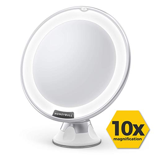HONEYBULL Makeup Mirror with Lights [10x Magnification] with 360° Swivel & Suction (Best Mirror With Integrated Lighted)