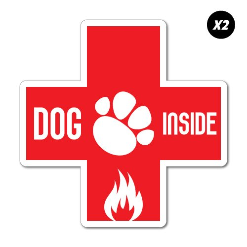 (2x Dog Inside Fire Emergency Sticker Decal Stickers Pet Art)