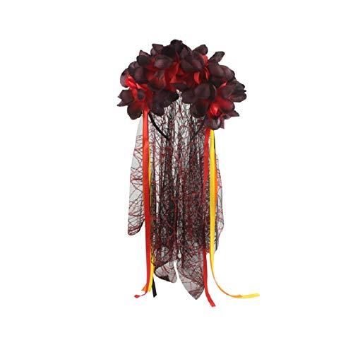 Floral Headband with Veil Flower Headband Headpiece Lace Mask Veil Headband Party Decor for Halloween Nightclubs Masquerade Costume Fancy Decor - #1 -