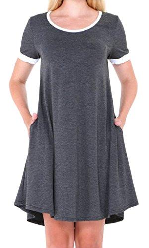 Dress Sleeve Mini Women's Casual Pockets Short Summer Domple With Gray Crewneck Dark FBwTU0