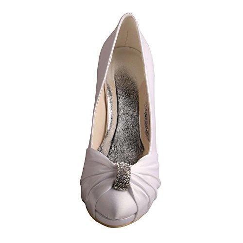 Round Pumps Wedopus High Bridal Heel Party MW643 Women's Wedding Shoes White Toe Satin Rhinestone qtqgTBE