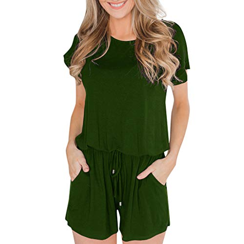 (Dainzuy Women's Summer Short Sleeve Soild Loose Striped Jumpsuit Rompers with Pockets Short Pant Rompers Playsuit Green)