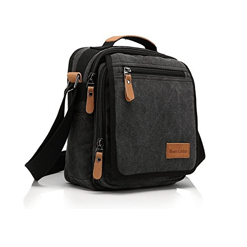 Moore Carden Durable Vintage Multifunction Canvas Shoulder Bag Business Messenger Bag Ipad Bag Tote Bag Satchel Bag for Men and Women Black