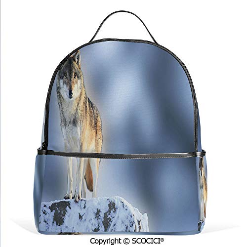 Lightweight Chic Bookbag Carnivore Animal in Snow Mountains Blurred Background Alpine Canine Nature Photograph Decorative,Multicolor,Satchel Travel Bag Daypack ()