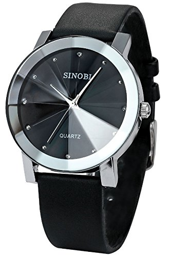 Findtime Mens Nice Slim Black Leather Quartz Wrist (Suit For Cheap)