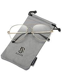 Sojos Gafas De Sol Aviador Clásico Unisex Marco Metal Lente Espejo Doble Puente SJ1030