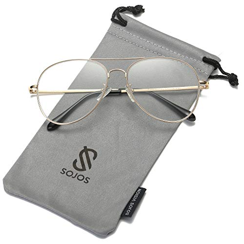 - SOJOS Classic Aviator Clear Lens Eyeglasses Eyewear Metal Frame with Spring Hinges SJ1030 with Gold Frame/Clear Lens