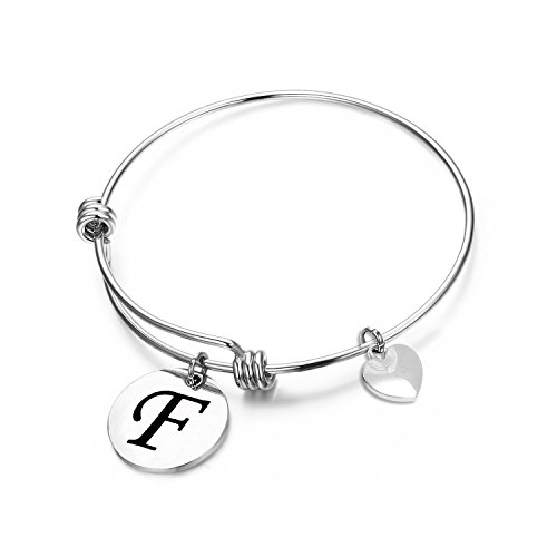MAOFAED Initial Bracelet Letter Bracelet Personalized Jewelry Hand Stamped Jewelry(F-2)