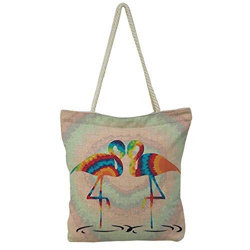 Handbag Cotton and Linen Shoulder Bag High-capacityFlamingo Decor,Colorful Retro Vintage 8os Flamingo Patterns in Polka Dot Design Checked Background,Multi,Graph Customization Design.