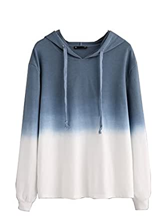 SweatyRocks Women's Sweatshirt Pullover Hoodie Cotton Shirt Blue Ombre (X-Small, Blue_White Ombre)