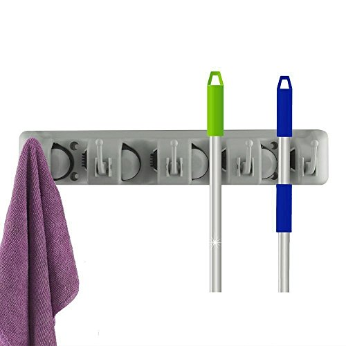 Better Quality Mop and Broom Holder, Wall Mounted Garden Tool Storage Tool Rack Storage & Organization for Your Home, Closet, Garage and Shed (P4)